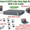 Paket CCTV 8 Kamera Infra Red High 600 TVL Effio-E & Superhad CCD II DVR 16 Ch- Connected to iPad, B