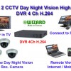 Paket CCTV 4 Camera Day Night Vision High Resolution 700 TVL Buatan Taiwan