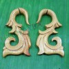 Yellow wooden tribal cheater gauge earrings c0040wy