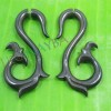 Black wooden tribal cheater earrings c0038wb