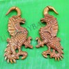 Red wooden tribal dragon cheater gauge earrings c0035wr