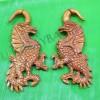Red wooden tribal dragon cheater gauge earrings c0035wr