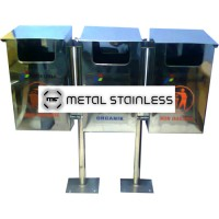 Tempat Sampah Stainless 3 in 1, Dust Bin Stainless DBS 3 in 1