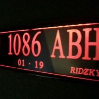 Plat nomor kendaraan eksklusif menyala angka/huruf grafir acrylic tipe FULLY