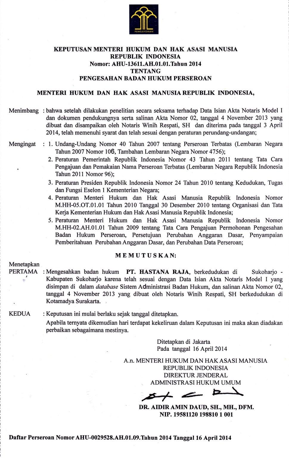 Surat Keputusan Menteri Hukum dan Hak Asasi Manusia