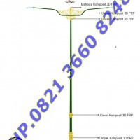 Tiang Lampu PJU Antik FRP Double Arm