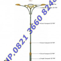 Tiang Lampu RLJA Seri 02 Double Arm Ornament FRP dan Plat Steel