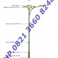 Tiang Lampu RLJA Seri 04 Single Arm Ornament FRP dan Plat Steel