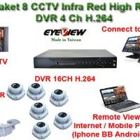 Paket CCTV 8 Kamera Infra Red High 700 TVL Effio-E dgn DVR 16Ch Buatan Taiwan Hard Disk 2TB