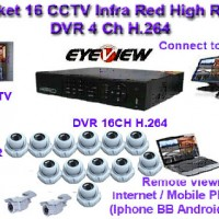 Paket CCTV 16 Camera CCD Sony Effio-E 750 TVL Hard Disk 2 TB Hybrid DVR with HDMI Connection