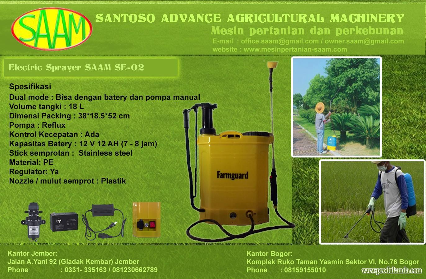 Electric Sprayer Saam Se 02 Produk Anda Dot Com Portal B2b Alat Tanam Jagung Gfs Penyemprot Tanaman Racun Bantu Pertanian