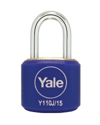 Yale Padlock Y110J-15-111-2 Blue Classic Series Indoor Color Brass 15mm with Multi-pack