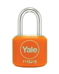 Yale Padlock Y110J-15-111-2 Orange Classic Series Indoor Color Brass 15mm with Multi-pack