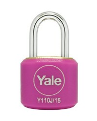 Yale Padlock Y110J-15-111-2 Pink Classic Series Indoor Color Brass 15mm with Multi-pack