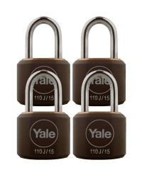 Yale Padlock Y110J-15-111-4 Black Classic Series Indoor Black Cover Brass 15mm with Multi-pack