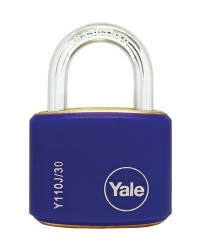 Yale Padlcok Y110J-30-117-2 Blue Classic Series Outdoor Color Brass 34mm with Multi-pack