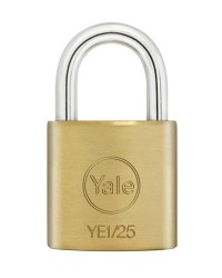 Yale Padlock YE-125 Essential Series Indoor Brass Standard Shackle 25mm
