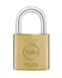 Yale Padlock YE-125 Essential Series Indoor Brass Standard Shackle 25mm