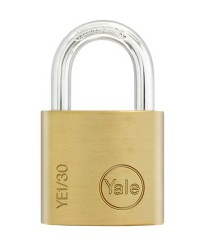 Yale Padlock YE-130 Essential Series Indoor Brass Standard Shackle 30mm