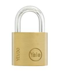 Yale Padlock YE-130 Essential Series Indoor Brass Standard Shackle 30mm