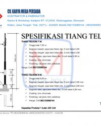 Tiang Telkom 7 M & 9 M Standard Warna Hitam