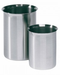 Stainless-steel Griffin-style beaker with easy-pour rim, 125 mL