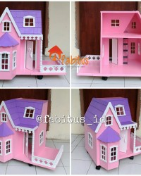 Mainan Anak Rumah Barbie Villa Kecil Teras Dollhouse