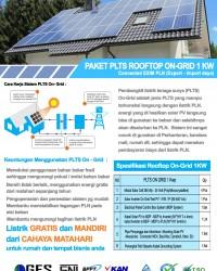 Paket PLTS Rooftop On-Grid 1 Kw