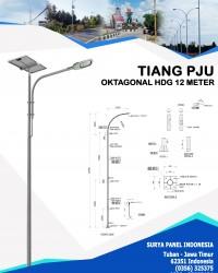 Tiang PJU Oktagonal Hot Deep Galvanis 12 Meter