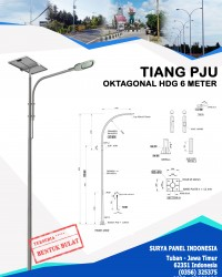 Tiang PJU Bulat / Oktagonal Hot Deep Galvanis 6 Meter