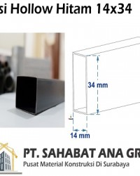 Besi Hollow Hitam 14x34x0.7 mm