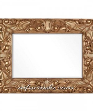 Kaca Cermin Minimalis Ornamen Jati
