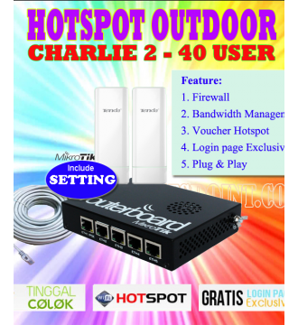 Paket Hotspot Outdoor Charlie 2 Mikrotik RB450G + Tenda O3 800mW