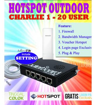 Paket Hotspot Outdoor Charlie 1 Mikrotik RB450G + Tenda O3 800mW