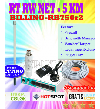 Paket RT RW Net 5 Km Billing Mikrotik RB750r2