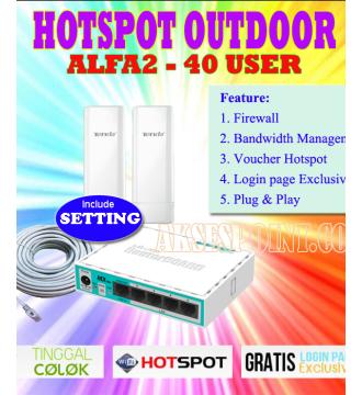 Paket Hotspot Outdoor Alfa 2 Mikrotik RB750r2 + Tenda o3 800mW