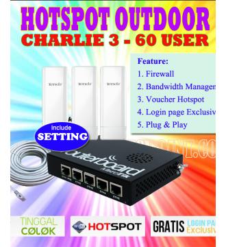 Paket Hotspot Outdoor Charlie 3 Mikrotik RB450G + Tenda O3 800mW