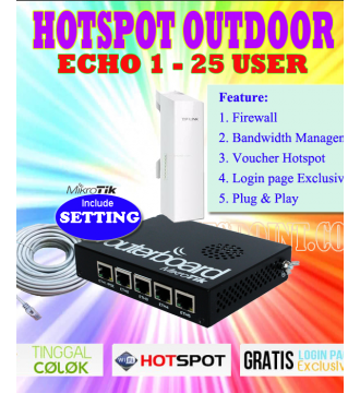 Paket Hotspot Outdoor Echo 1 Mikrotik RB450G + Tp-Link CPE220 1000mW