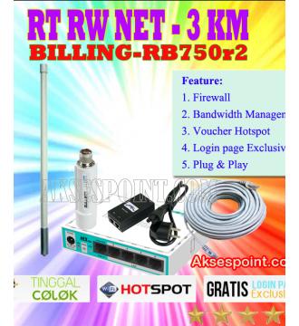 Paket RT RW Net 3 Km Billing Mikrotik RB750r2