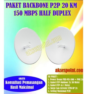 Paket Backbone Point to Point Power Beam PBE-M5-300 Half Duplex 20 Km 150 Mbps