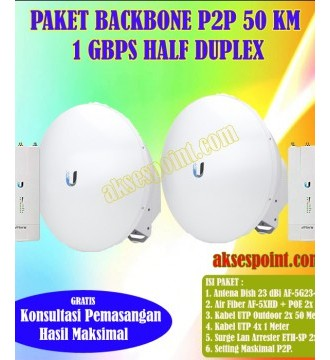 Paket Backbone Point to Point AirFiber AF-5XHD Half Duplex 50 Km 1 Gbps