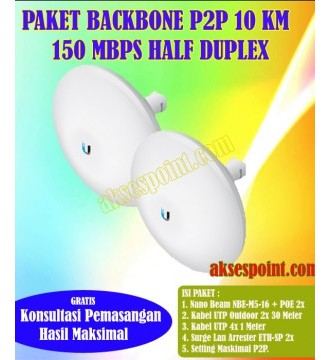 Paket Backbone Point to Point Nano Beam NBE-M5-16 Half Duplex 10 Km 150 Mbps