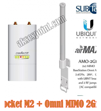 Paket Ubiquiti Rocket M2 28 dBm + Ubnt Omni MIMO AMO-2G13 AMO 2G13