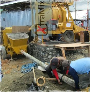 Jual Concrete Mixer Beton Molen merk XtramixX u Feeding Concrete Pump