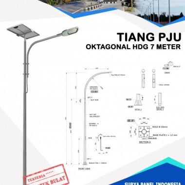 Tiang PJU Bulat / Oktagonal Hot Deep Galvanis 7 Meter Surya Panel Indonesia