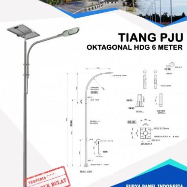 Tiang PJU Bulat / Oktagonal Hot Deep Galvanis 6 Meter Surya Panel Indonesia