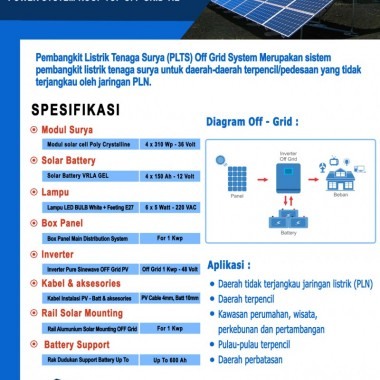 Paket PLTS Rooftop Off - Grid 1 Kwp Surya Panel Indonesia