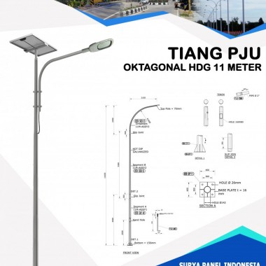 Tiang PJU Oktagonal Hot Deep Galvanis 11 Meter Surya Panel Indonesia
