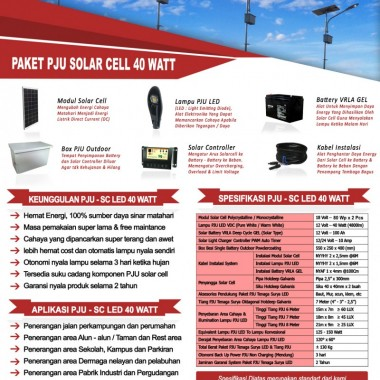 paket PJU solar cell 40 watt LED Surya Panel Indonesia