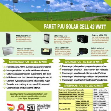 paket PJU solar cell 42 watt LED Surya Panel Indonesia